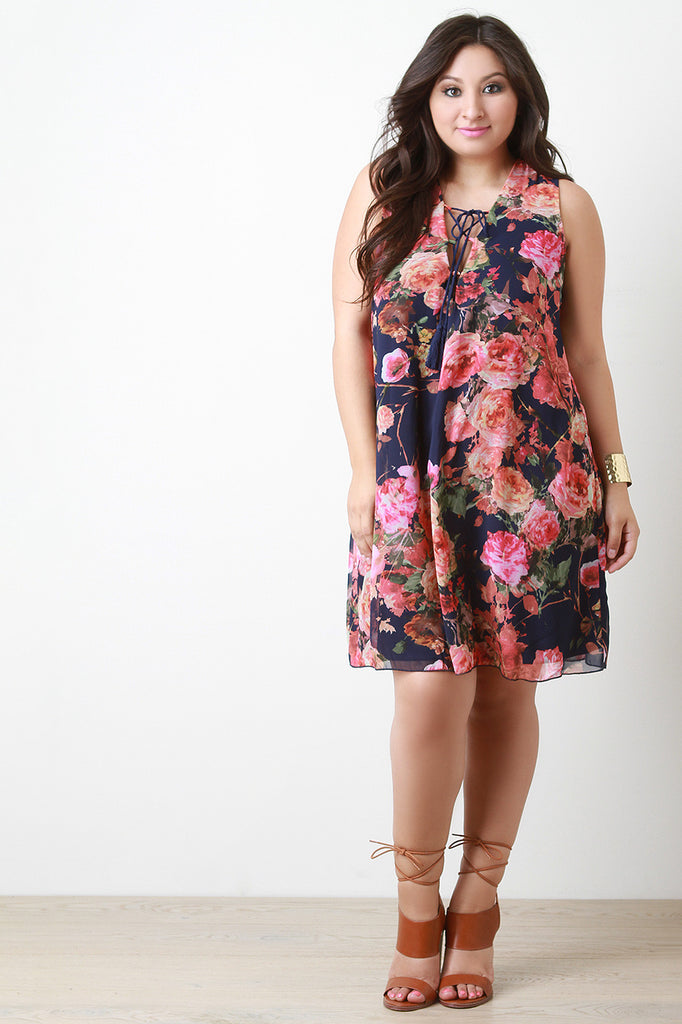 Chiffon Floral Print Lace-Up Shift Dress