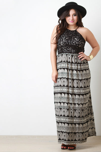 Plus Size Lace And Paisley Contrast Maxi Dress