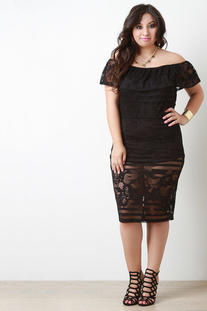 Lace Knee Length Pencil Skirt