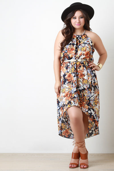 Bow Belted Floral High Low Dress
