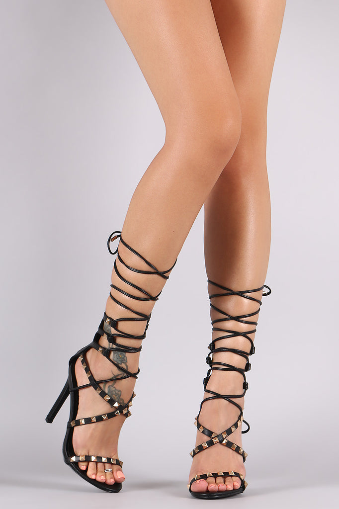 Strappy Studded Tie Leather Heels