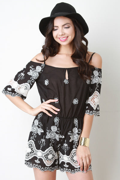 Floral Embroidery Bardot Romper