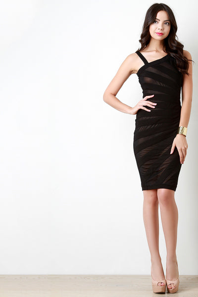 Asymmetrical Shoulder Contrast Mesh Bodycon Dress - JDI Threads