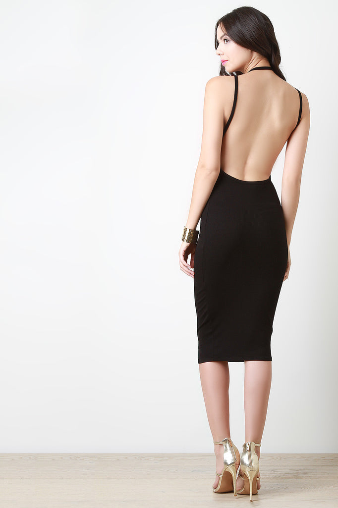 Halter Open Back Sleeveless Midi Dress