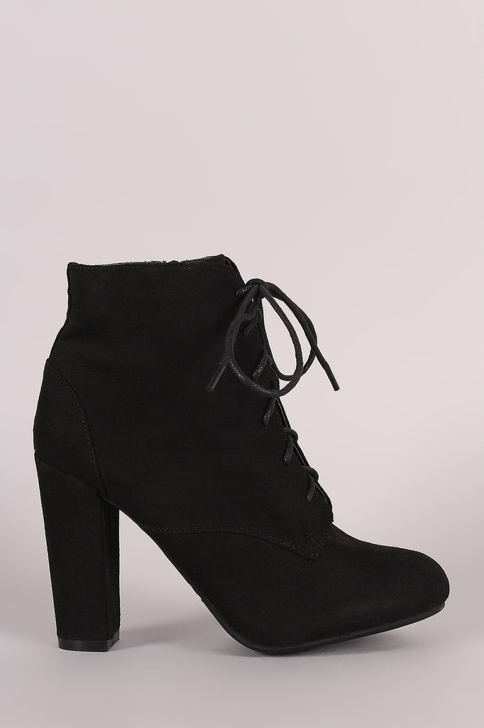 Bamboo Lace Up Fur Lined Chunky Heel Ankle Bootie - JDI Threads