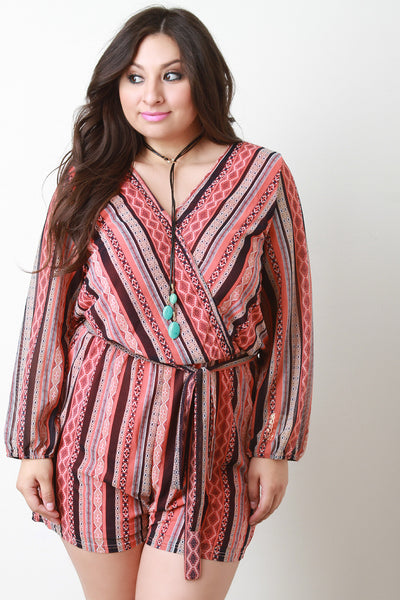 Boho Stripe Long Sleeve Romper