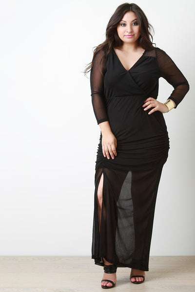 Semi-Sheer Mesh Drape Slit Maxi Dress