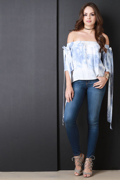 Cloudy Dye Bow Sleeve Bardot Top