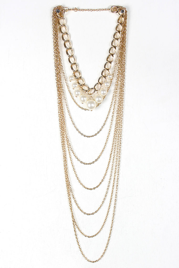 Layered Chains and Pearls Necklace