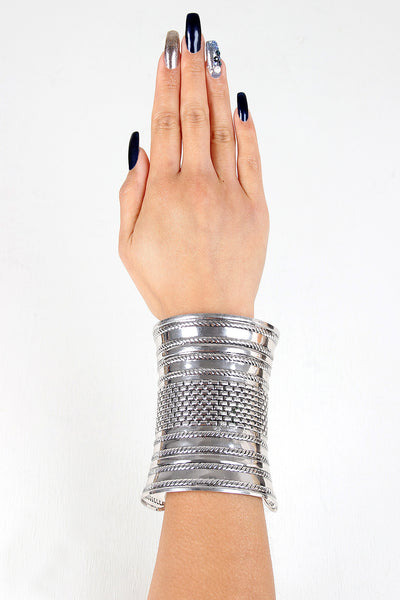 Brick Etched Curved Cuff Bracelet