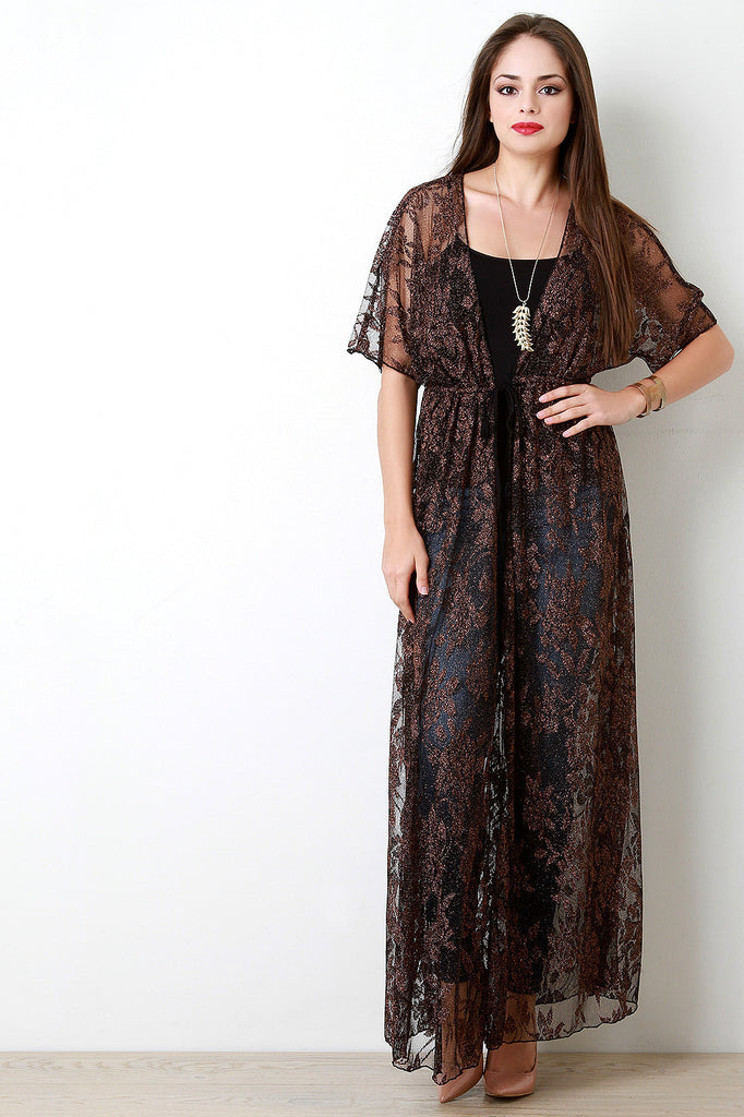 Floral Shimmer Mesh Cover Up Dress