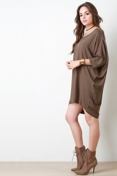 Casual Bat Wing Sleeve Boat Neck Midi Dress