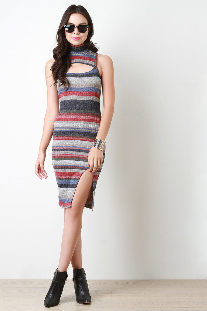 Striped Mock Neck Bodycon Sweater Dress