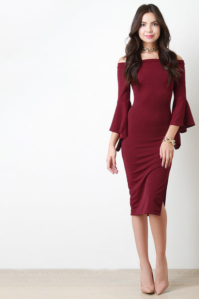 Bell Sleeve Bardot Midi Dress