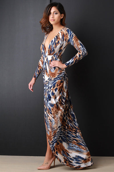 SAFARI PLUNGING V DRAPE FRONT SLIT MAXI DRESS