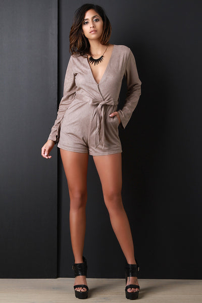 SUEDE SURPLICE V-NECK SELF-TIE WAIST POCKETED ROMPER