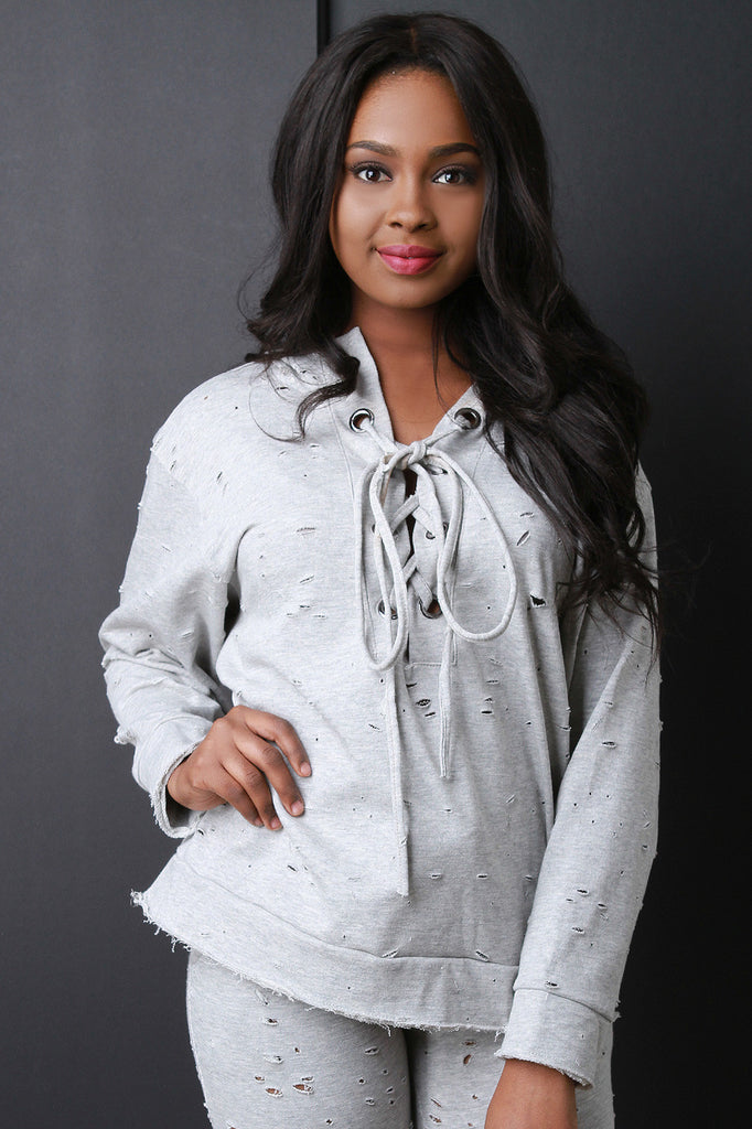 DISTRESSED LACE UP HOODED SWEATER