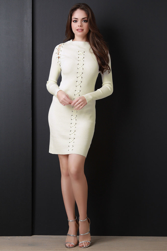 GROMMETS LACE UP LONG SLEEVES BODYCON SWEATER DRESS