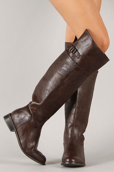 Breckelle Buckle Round Toe Riding Thigh High Boot