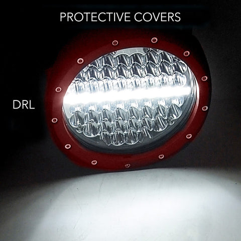 Pair 7inch 590w Cree Round LED Driving Lights Work Spotlights 12V 24V Red