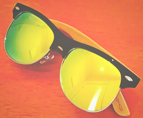 TechSale Contempo style Yellow REVO Handmade Bamboo Wood Sunglasses