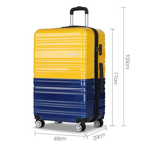 Set of 2 Premium Hard Shell Travel Luggage with TSA Lock Yellow and Purple