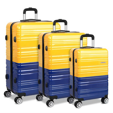 Set of 3 Premium Hard Shell Travel Luggage with TSA Lock Yellow and Purple