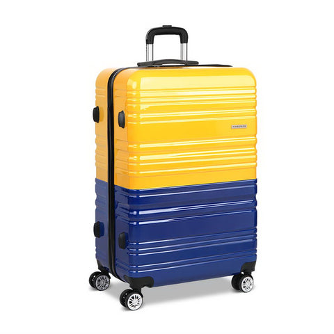 Hard Shell Travel Luggage with TSA Lock Yellow and Purple