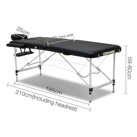 75cm Professional Aluminium Portable Massage Table - Black