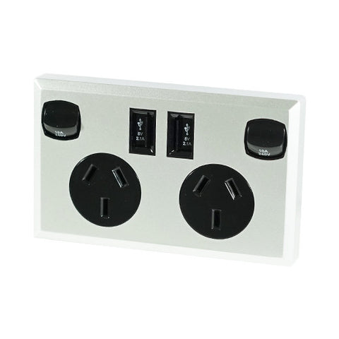 10A Double Australian USB Power Point Supply 2 Socket Switch Wall Plug Black
