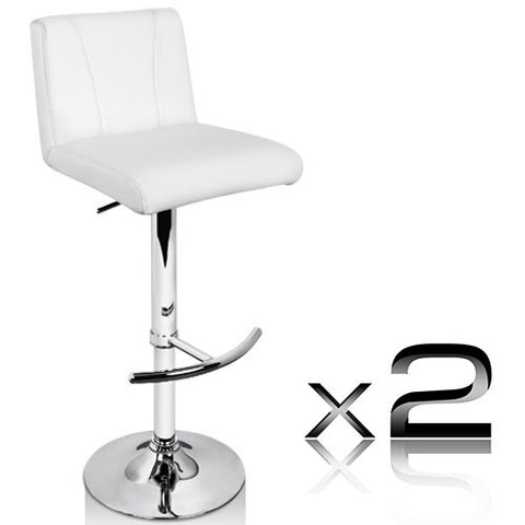 Set of 2 PU Leather Kitchen Bar Stool White