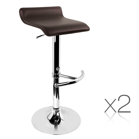 Set of 2 PVC Leather Kitchen Bar Stool Chocolate