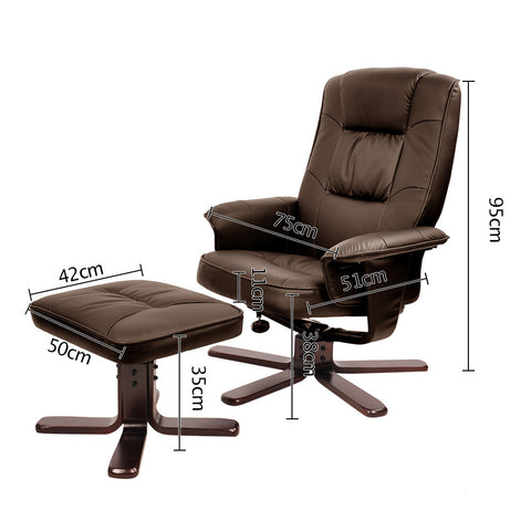 PU Leather Lounge Office Recliner Chair Ottoman Chocolate
