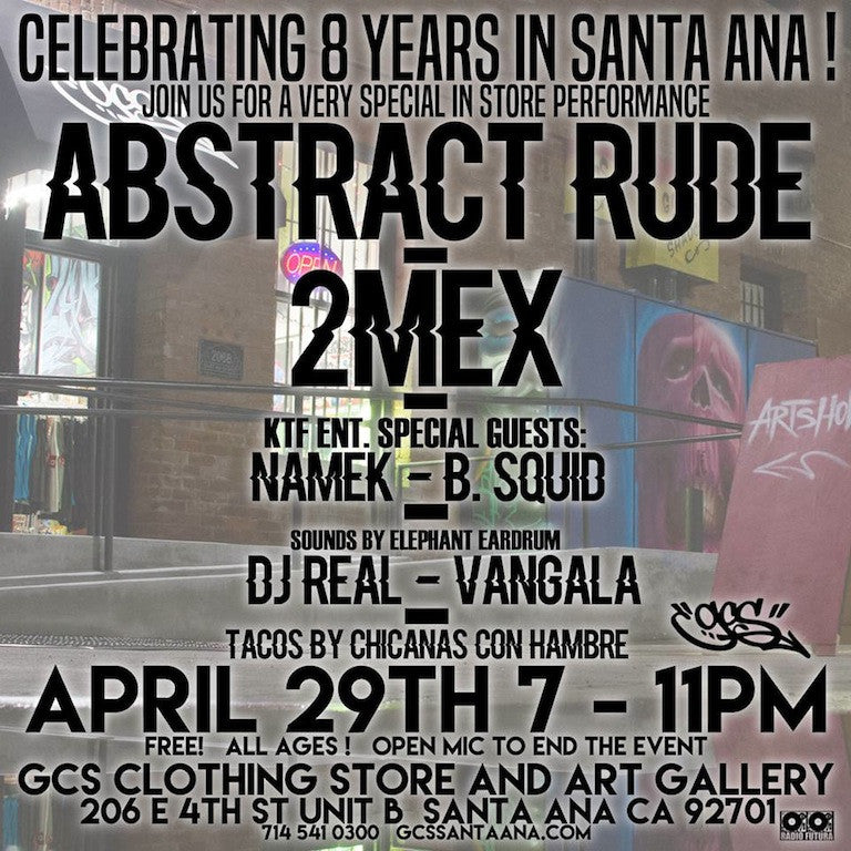 Abstract Rude and 2MEX at GCS April 29