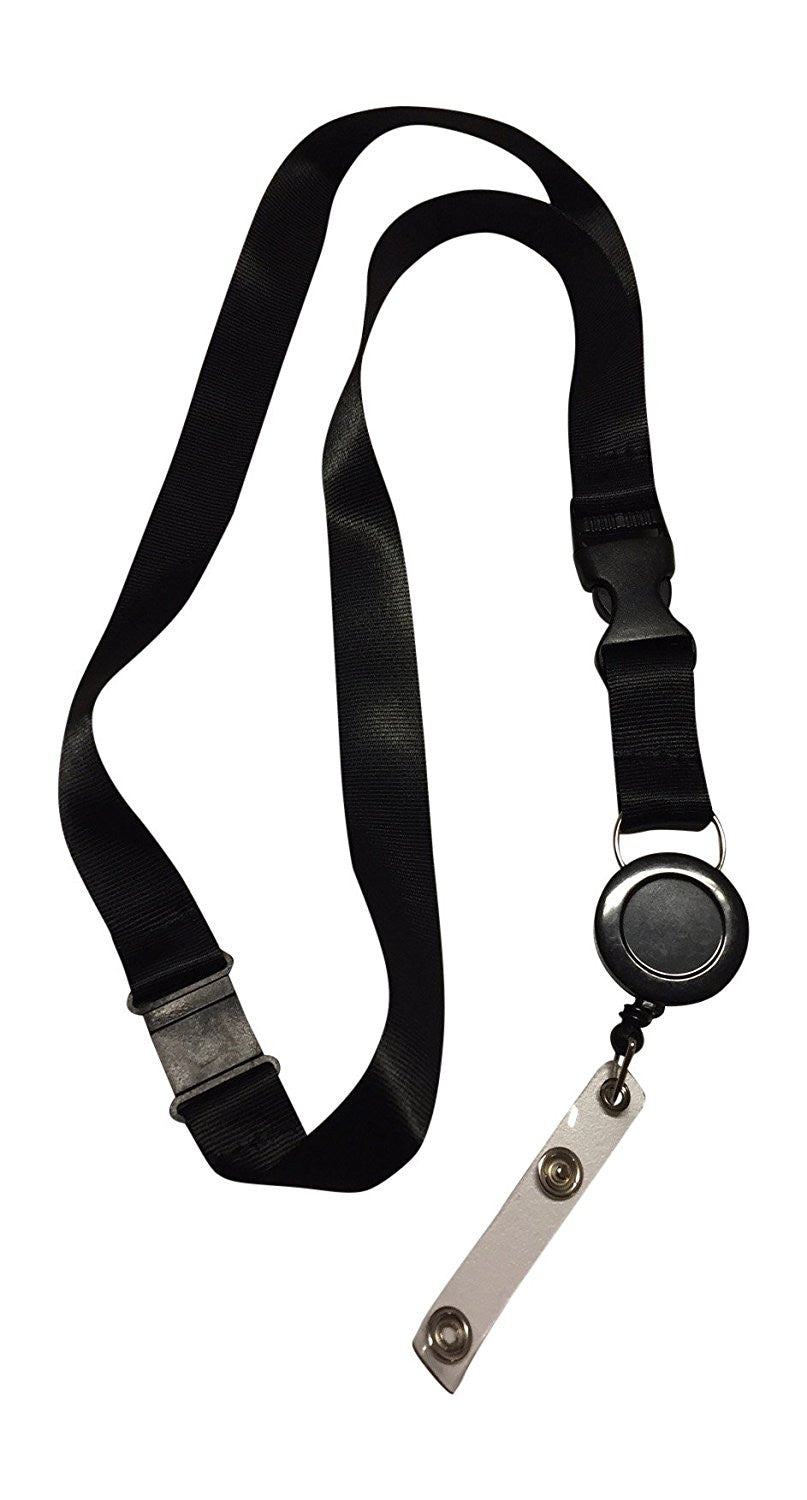 1 LR black anti choke lanyard with retractable badge reel for ID badges and proximity cardsLR