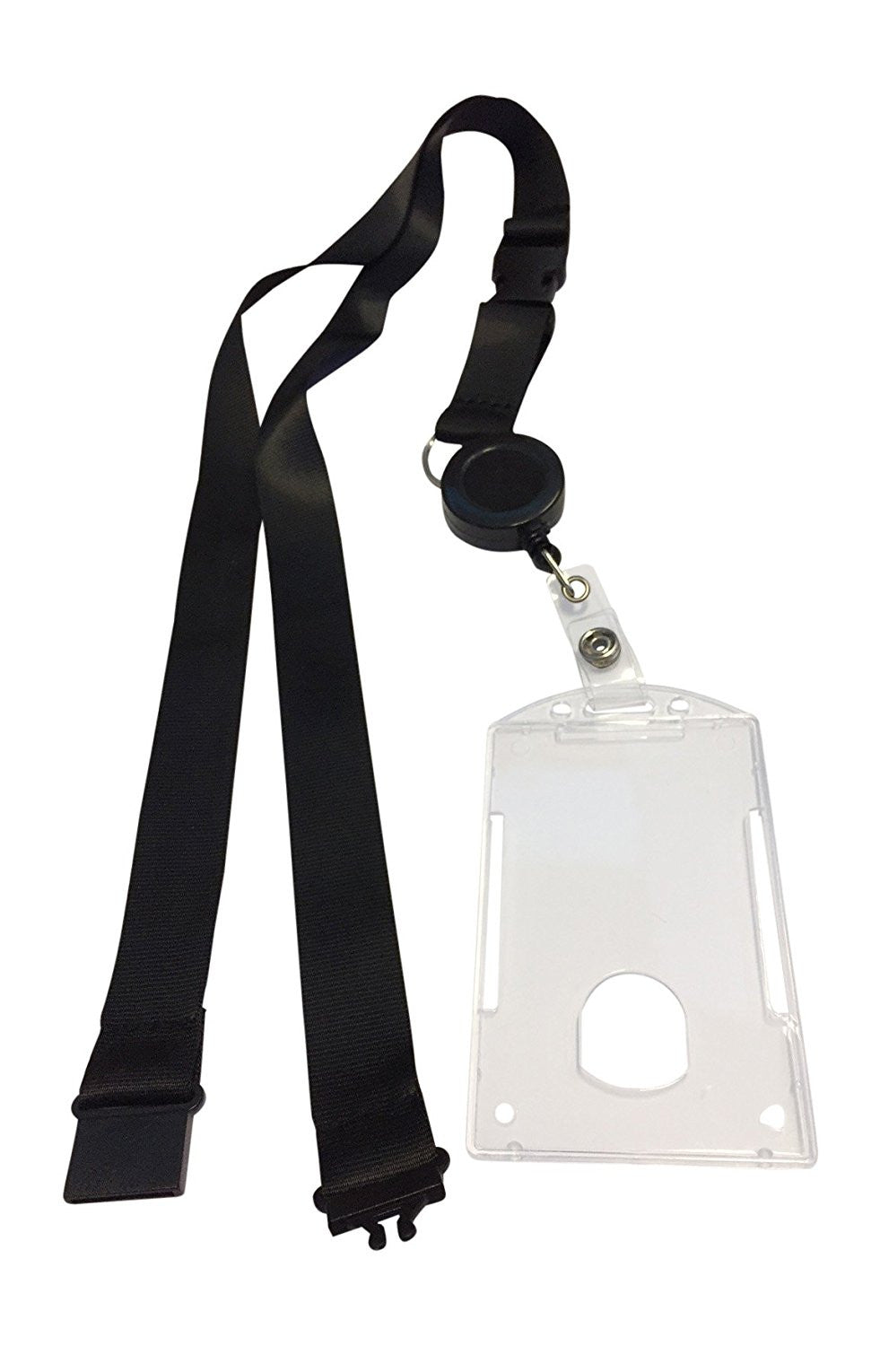 1 Combo Breakaway Black Lanyard with Badge Reel and Hard Plastic Card Holder Combo