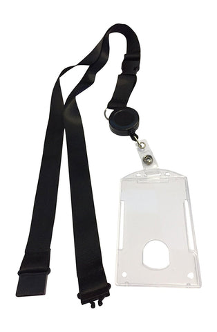 5 pcs Combo Breakaway Black Lanyard with Badge Reel and Hard Plastic Card Holder Combo