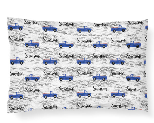 Personalized Name Pillowcase - BLUE TRUCKS - Dotboxed