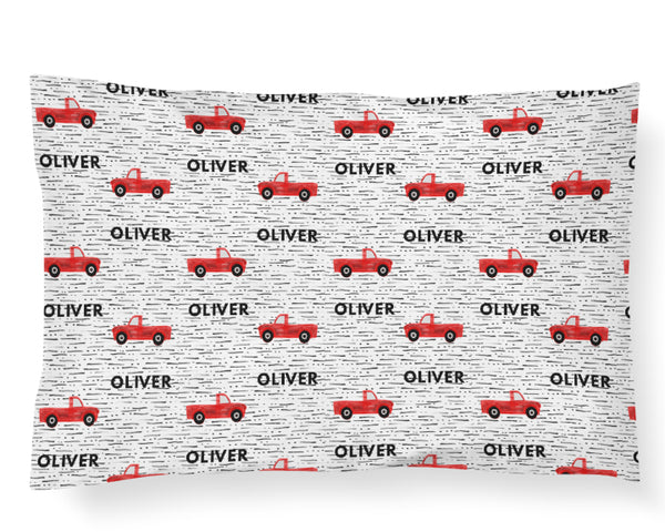 Personalized Name Pillowcase - RED TRUCKS - Dotboxed