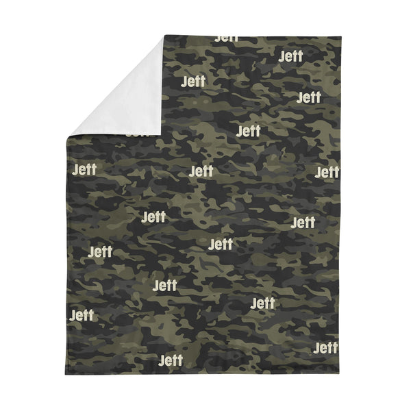 Personalized Name Minky Blanket - CAMOUFLAGE GREEN - Dotboxed