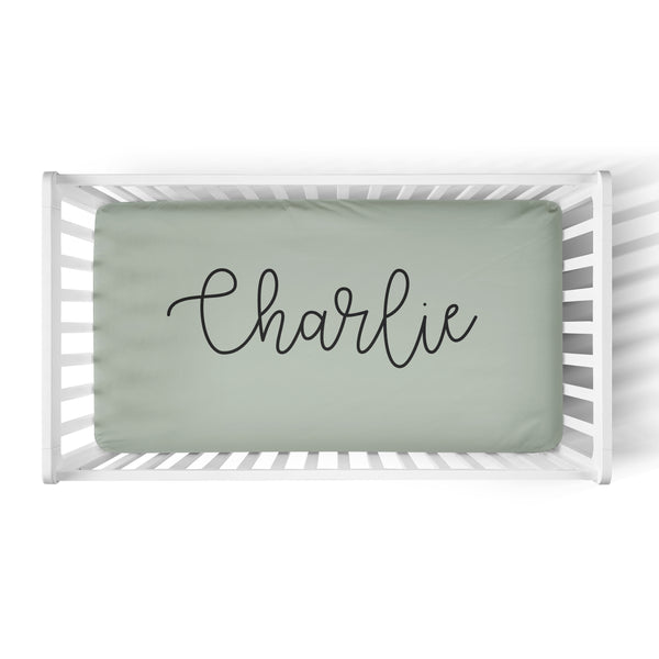 Personalized Name Crib Sheet-  LARGE CENTERED NAME COLORED BACKGROUND