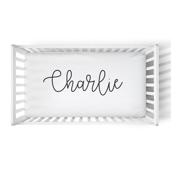 Personalized Name Crib Sheet-  LARGE CENTERED NAME