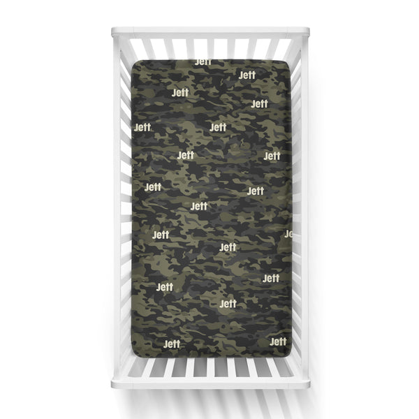 Personalized Name Crib Sheet-  CAMOUFLAGE GREEN - Dotboxed