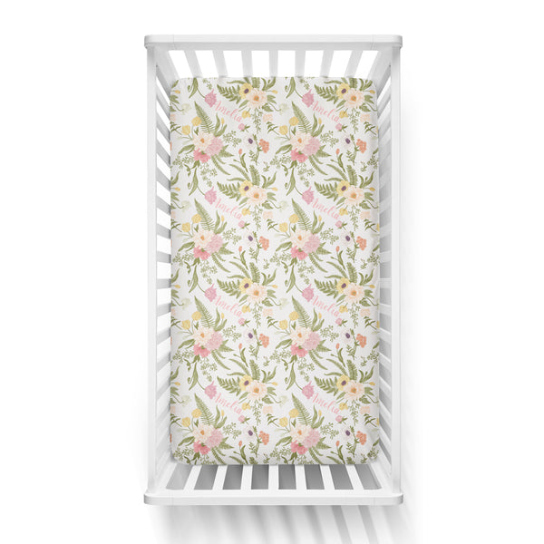 Personalized Name Crib Sheet-  BLUSHING VINTAGE FLORAL - Dotboxed