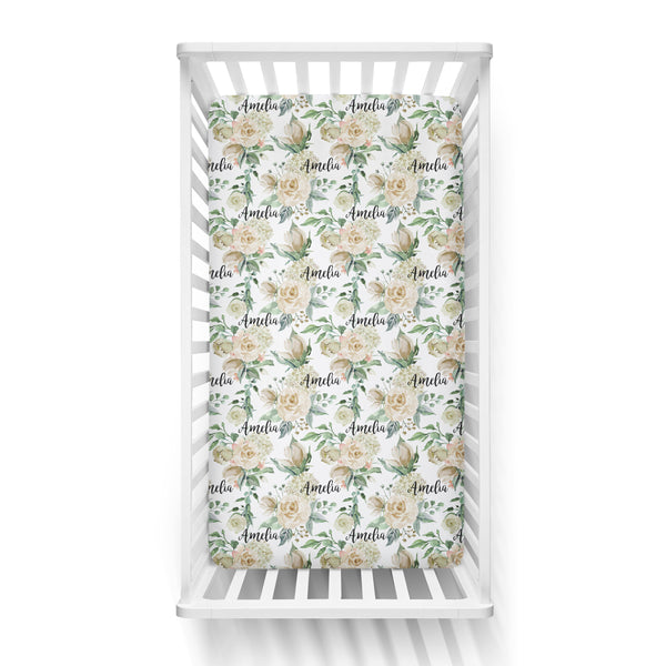 Personalized Name Crib Sheet-  CREAM FLORAL - Dotboxed