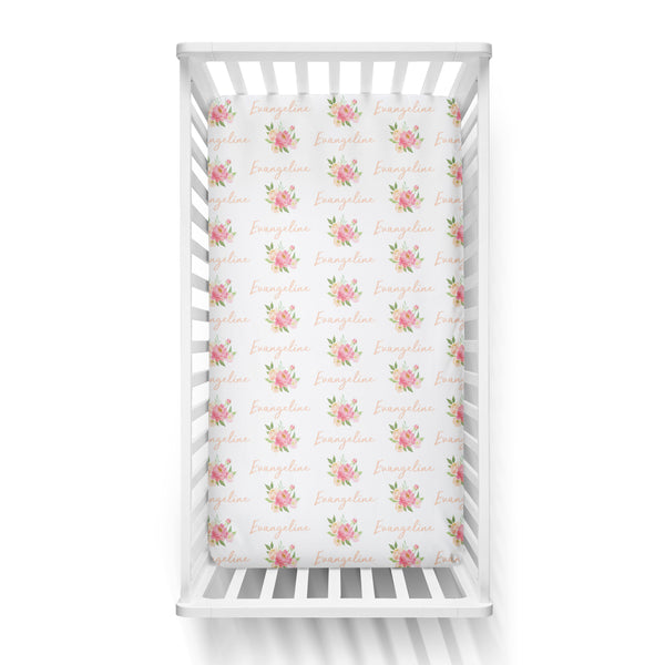 Personalized Name Crib Sheet-  PEONY BUNCH
