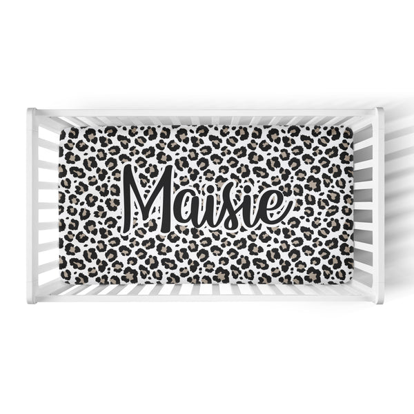 Personalized Name Crib Sheet-  Leopard - Dotboxed