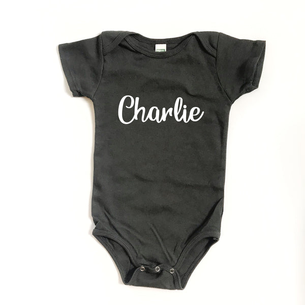 Personalized Name Bodysuit - DARK GREY - Dotboxed