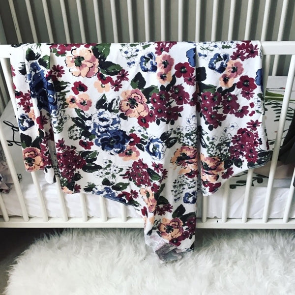 SWADDLE BLANKET - WHITE WATERCOLOR FLORAL