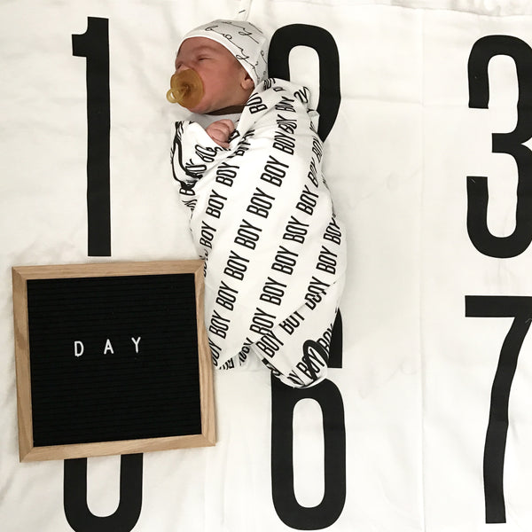 Big + Bold Numbers- Anniversary Blanket for Baby Milestones - WHITE 100% COTTON - Dotboxed